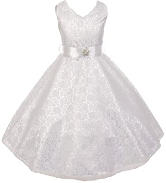 116edba40dc Little Girls Lace Overlay Satin Brooch Flowers Girls Dresses White Size 4