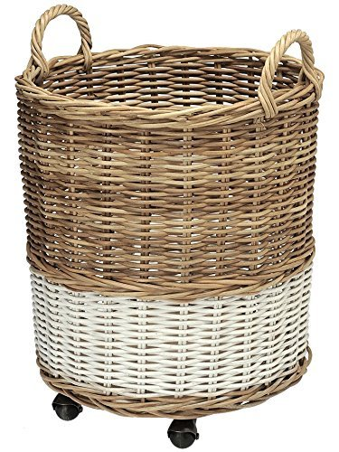 KOUBOO 1060067 Round Two-Tone Rolling Wicker Basket and Planter with Caster Wheels, 18.5