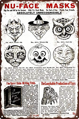 Yilooom 1920s Halloween Mask Ad Devil Witch Cat Owl Pumpkin Metal Sign Repro 8x12 ()