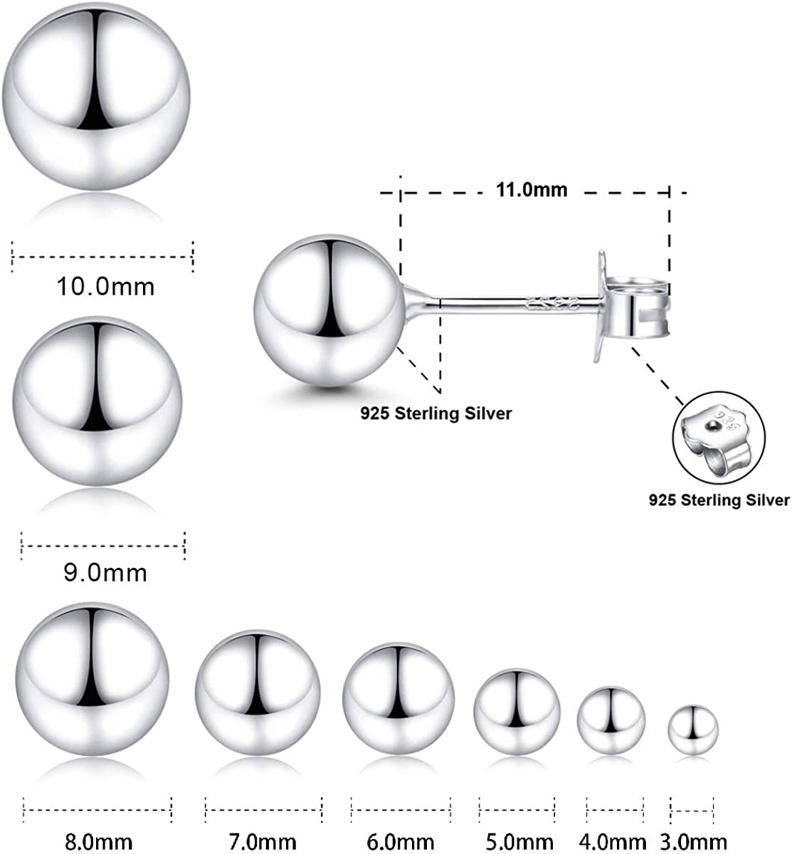 Simple Polished Ball Studs Hypoallergenic Jewelry White Gold Sterling Silver Ball Stud Earrings 3mm-10mm Options