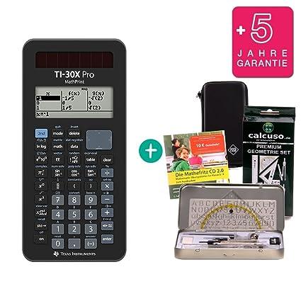 Streberpaket: TI-30XB MultiView Erweiterte Garantie + Geometrie-Set Lern-CD Schutztasche auf Deutsch