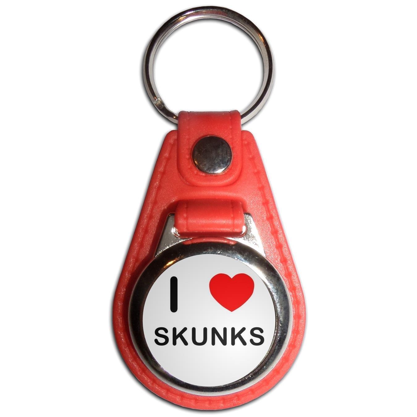I Love Skunks - Blue Plastic / Metal Medallion Coulor Key Ring BadgeBeast cblu-skunks