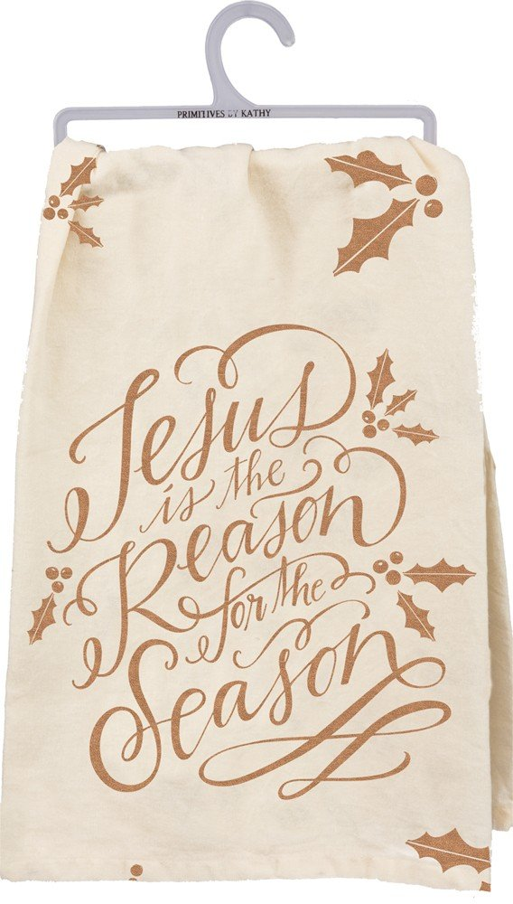 Primitives by Kathy 28446 Christmas Hand Lettered Kitchen Towel, Jesus is The Reason