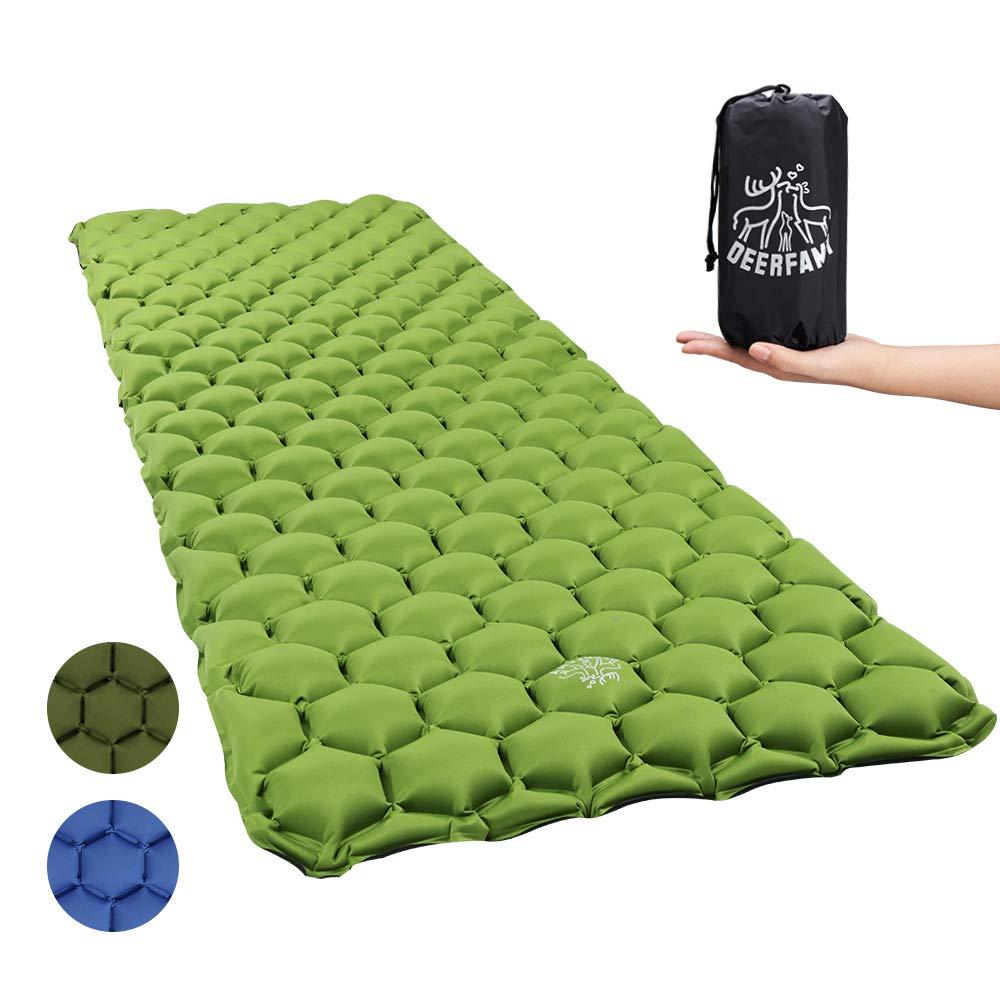 DEERFAMY Ultralight Inflatable Sleeping Pad, Compact Camping Sleeping Pad Lightweight for Backpacking, Traveling, Hiking, Hammock by DEERFAMY