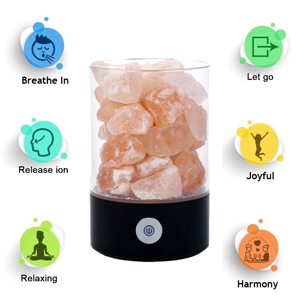 Denshine Himalayan Salt Lamp Salt Lamp with Dimmer Switch 7 Colorful Night Light Air Purifying Ionic Natural Salt Crystal Lamp Night Light for Kids (Black)