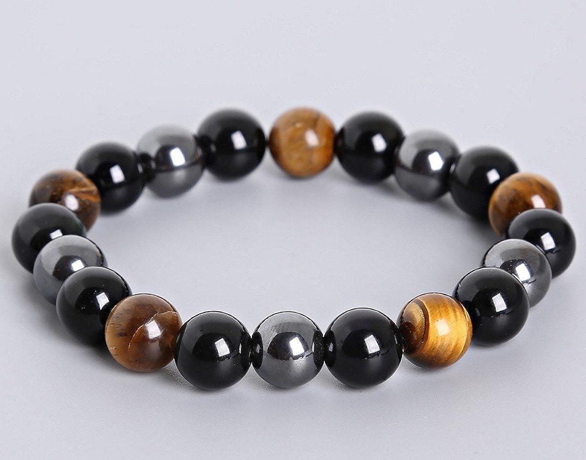 Peterpanshop Tiger Eye /& Hematite /& Black Obsidian 10mm Beaded Bracelet Buddha Healing Rope Man Stone Uni