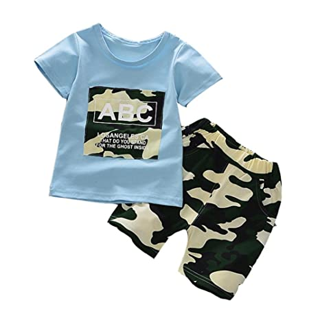 Shiningup Baby Boy Chándal Summer Outfit 2pcs Camuflaje Manga ...