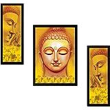 SAF UV Textured Buddha Print Framed Painting (Synthetic, 35 cm x 2 cm x 50 cm, Set of 3, SANFSA7706)
