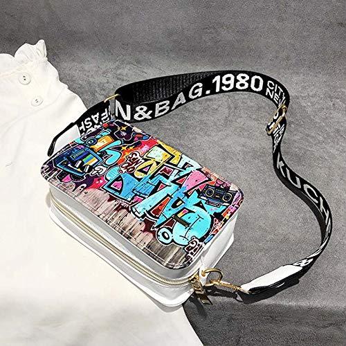 para Cremallera de móvil Graffiti señora Vintage White Dinero Bolso Girl Crossbody Majome pequeña teléfono Shoulder nC0qFpwx1v