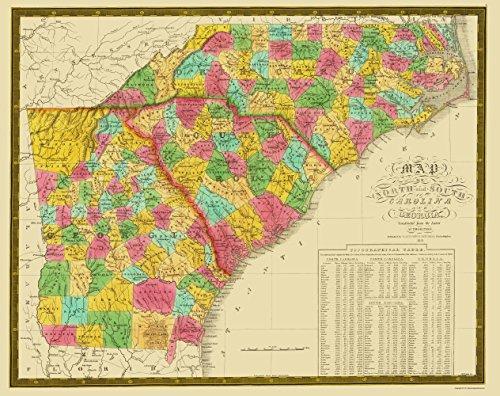 Old State Map - North Carolina, South Carolina , Georgia 1831 - 23 x 29 - Glossy Satin Paper 1831 Map