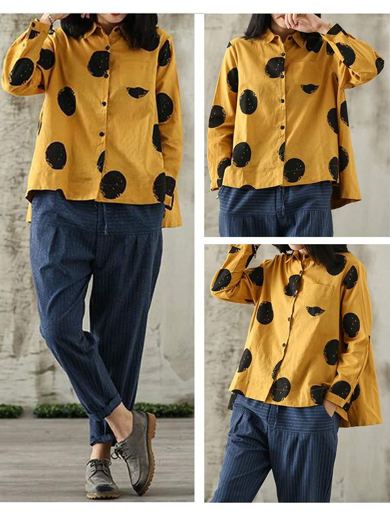 FTCayanz tunika tröjor i bomull för kvinnor lösa vardagliga prickiga blustoppar gUL