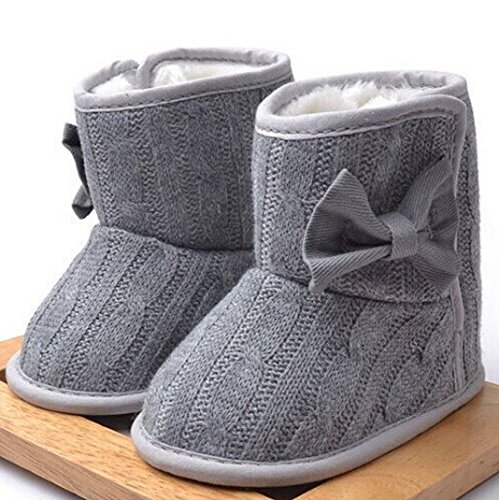 New Toddler Knited Winter Faux Fleece Crib Snow Boots Kid Baby Shoes Bowknot Woolen Yam Fur Knit Shoes First Walkers  1 Us Size  Gray