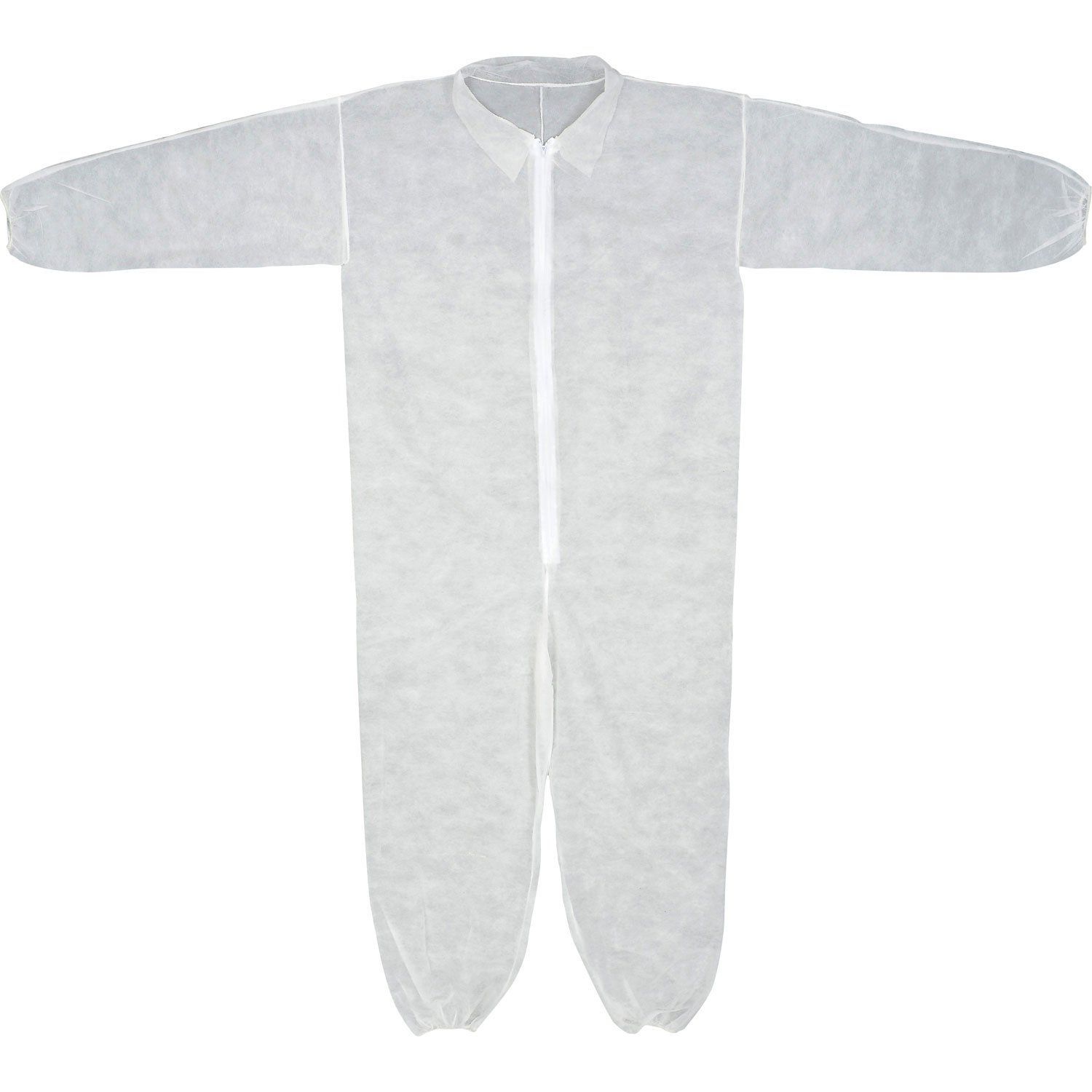 Coverall, Elastic Wrists & Ankles, Zipper Front, Single Collar, Polypropylene, White, M, 25/Case, Lot of 1