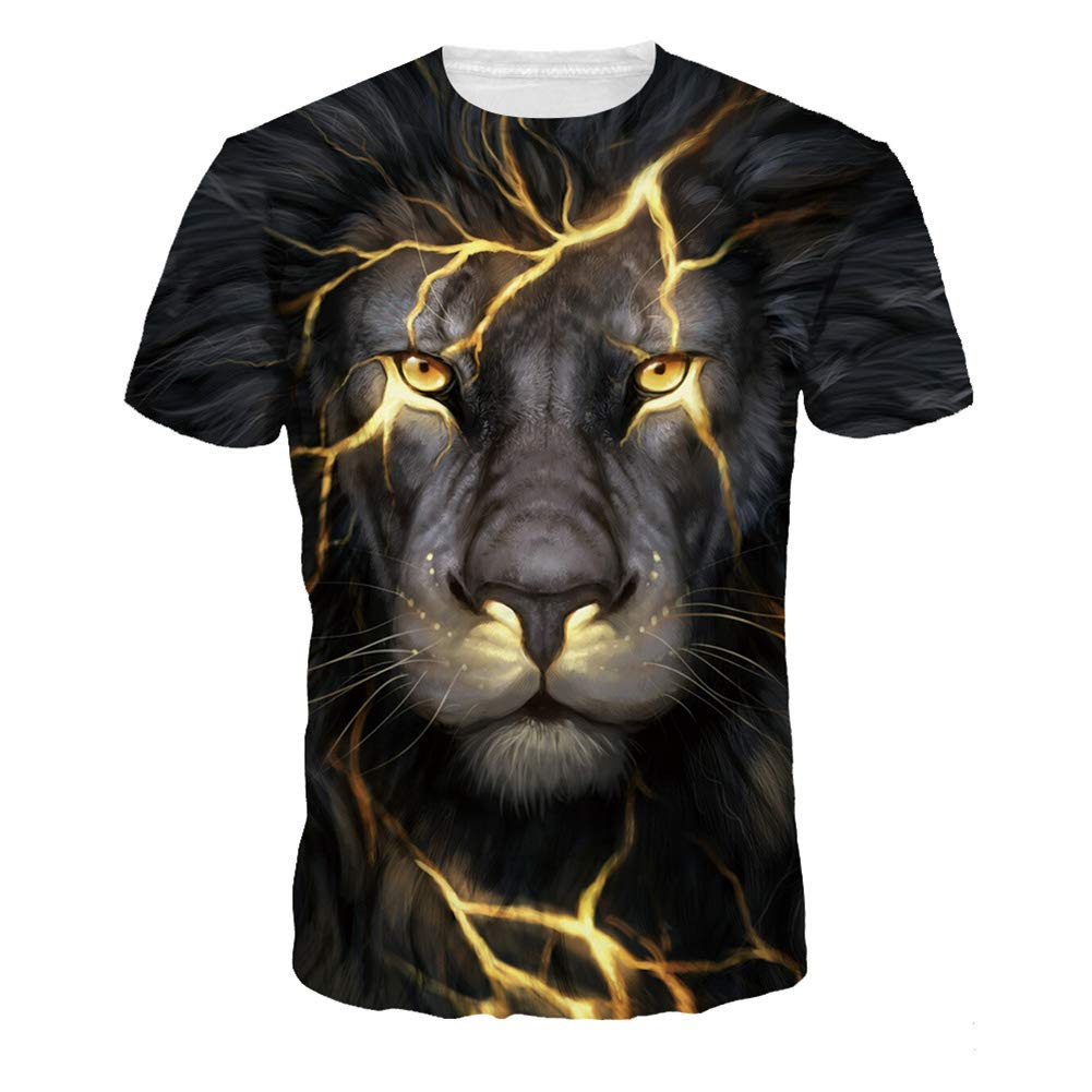 DSstyles Colorful 3D Stars Printing Round Collar Short Sleeve T-Shirt