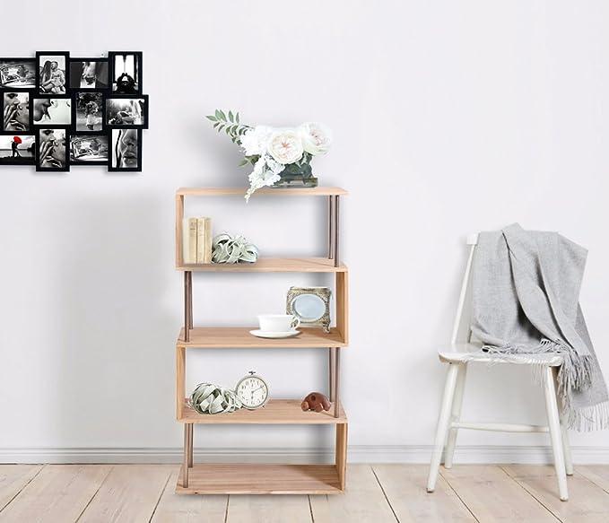 Mobili Rebecca Estantería Libreria 4 Estantes Madera Clara Estilo Casa de Campo Retro Salon Dormitorio (Cod. RE4660): Amazon.es: Hogar