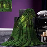smallbeefly Nature Digital Printing Blanket Deep Tropical Jungle Trees Foliage in the Woodland Asian Himalayas Meditation Landscape Summer Quilt Comforter Green