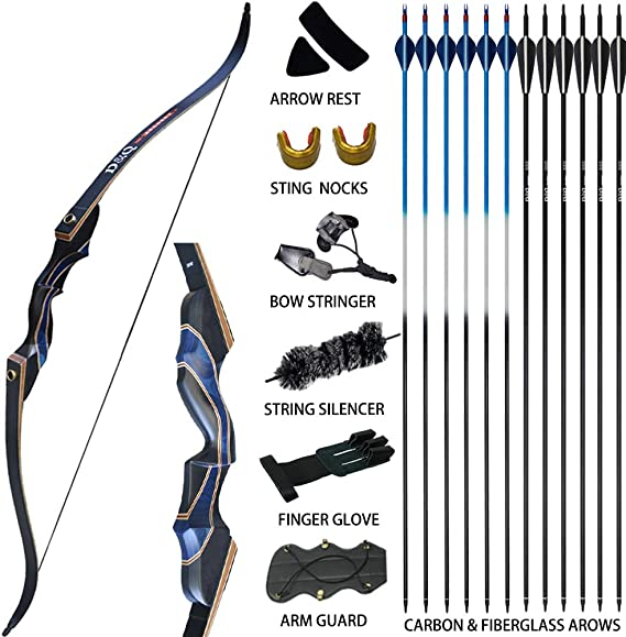 D&Q Archery Recurve Bow and Arrow Set for Adults Men Women Beginner 30-50 lbs Hunting Takedown Long Bow Kit with Carbon Fiberglass Arrows Right Hand