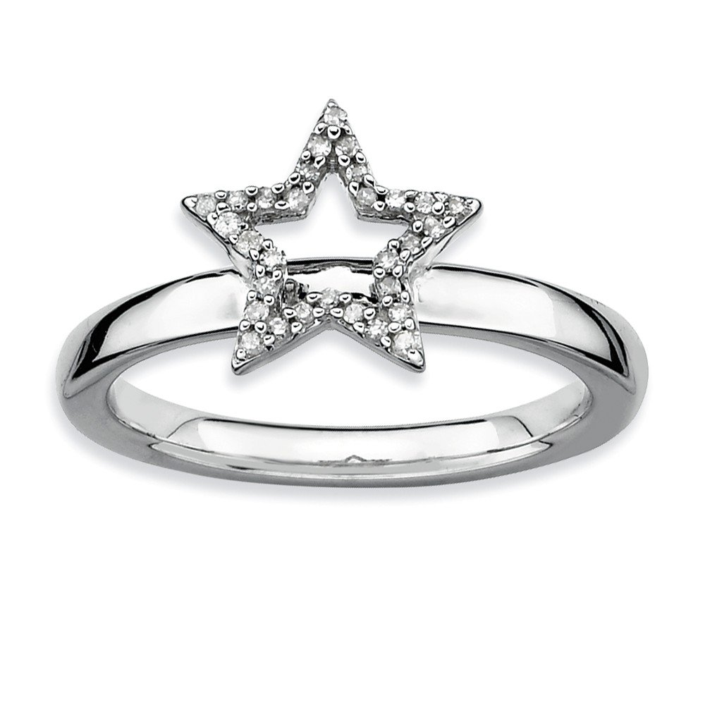 Sterling Silver Stackable Expressions Star Diamond Ring Size 8