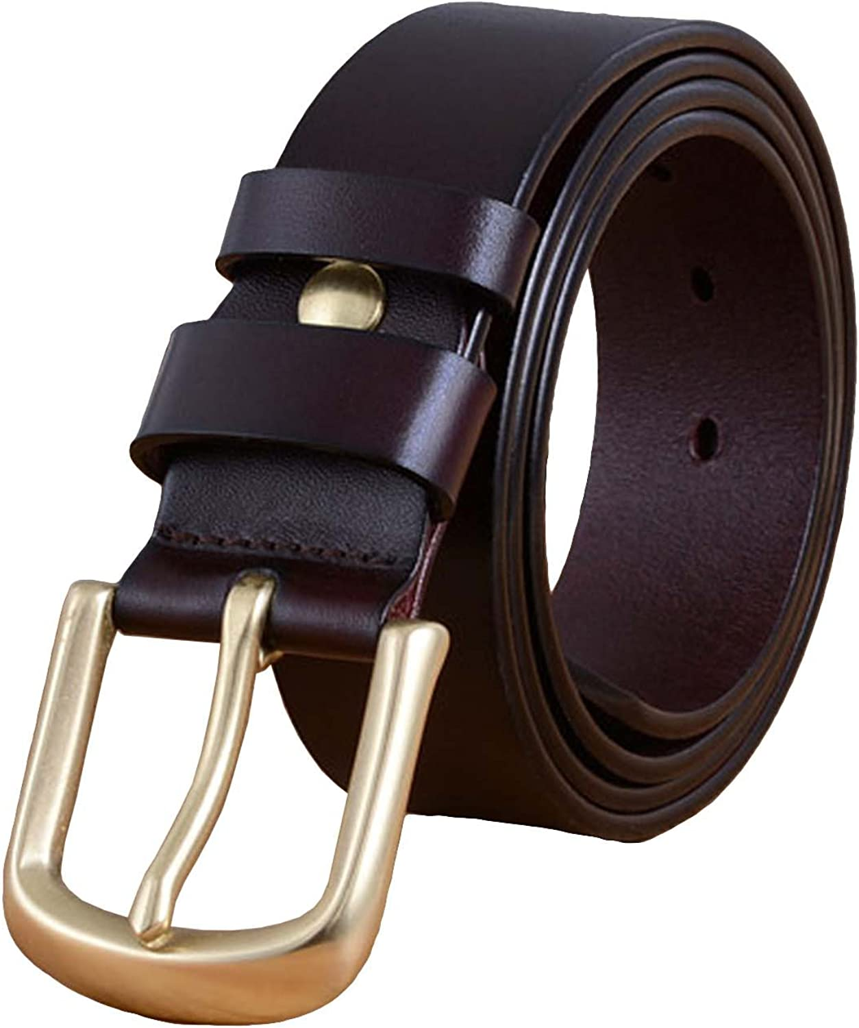 Nidicus Mens 38mm Brass Pin Buckle Retro Casual Reversible Leather Belt