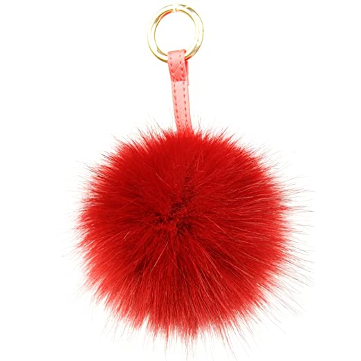 Dikoaina Large Faux Fur Pom Pom Keychain Bag Charm Fluffy Fox Fur Ball (Red) a11db2d761