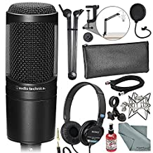 Audio-Technica AT2020 Cardioid Condenser Microphone Deluxe Broadcast Bundle with Headphones + Sanitizer + Cable + Pop Filter + Boom Arm + Fibertique Cloth + More