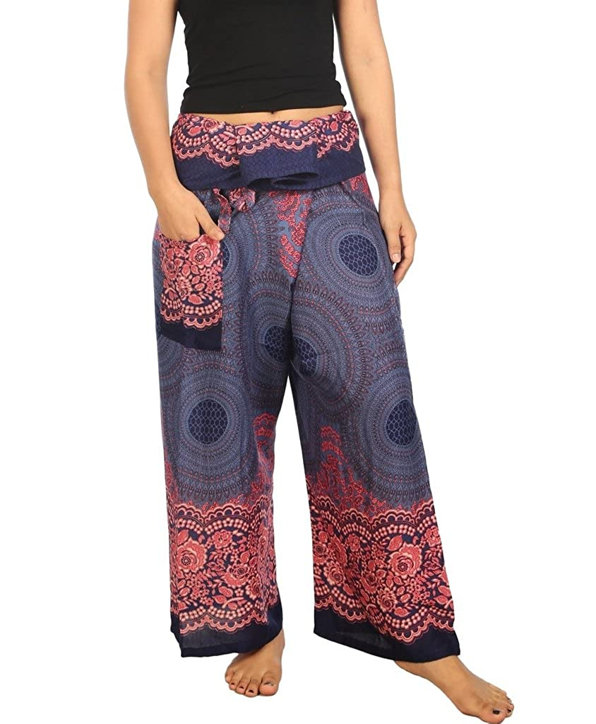 bluee pink Lannaclothesdesign Women's Thai Fisherman Pants Yoga Trousers Wide Legs Pants