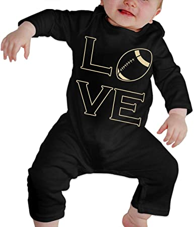 Baby I Love Football Long Sleeve Romper Onesie Bodysuit Jumpsuit