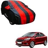 Autofurnish Stylish Red Stripe Car Body Cover For Ford Figo - Arc Red Blue