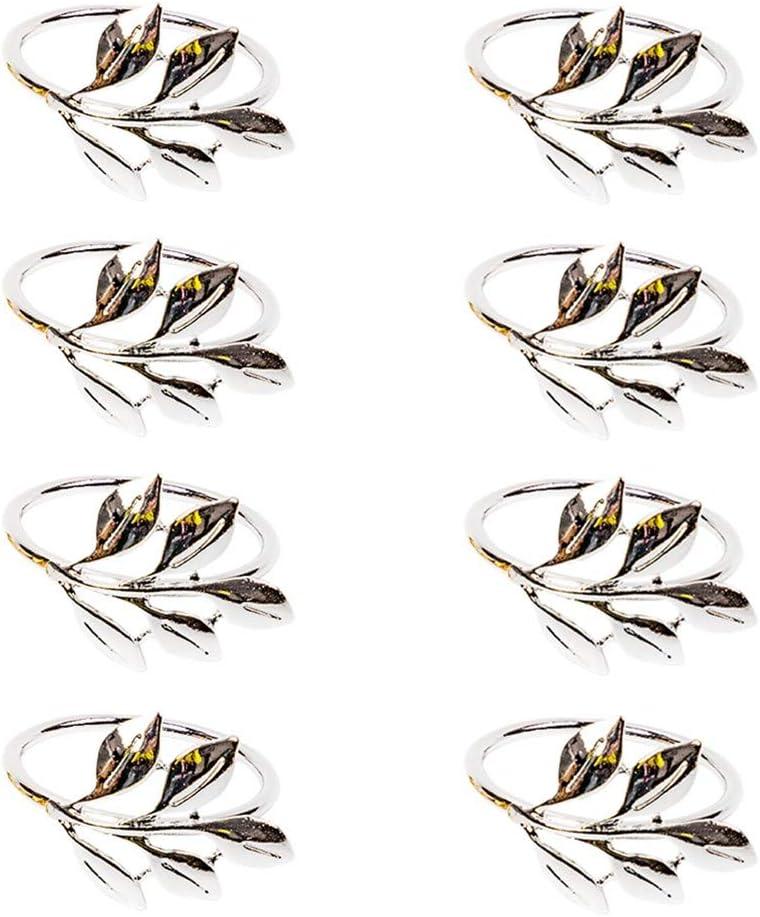 senover Napkin Rings Set of 8 Napkin Rings Holder for Home Wedding Holiday Parties Banquet Christmas Thanksgiving Dinner Decor Favor Gift (8, Silver)