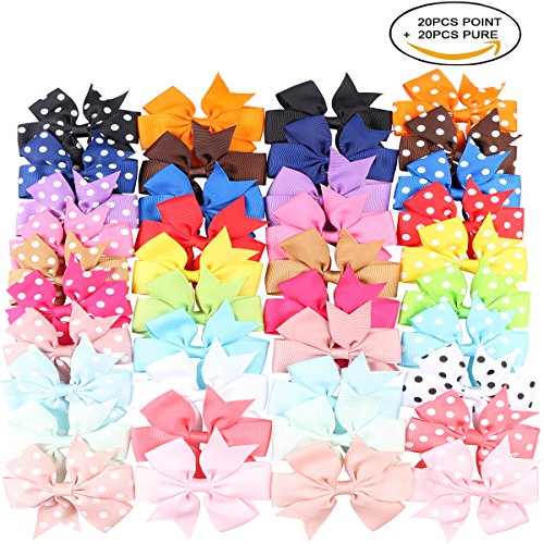 Kissbuty 40PCS 3.1 Inch Baby Girls Grosgrain Ribbon Boutique Hair Bows Alligator Clips Head Headbands Simple For Teens Babies Toddlers Children