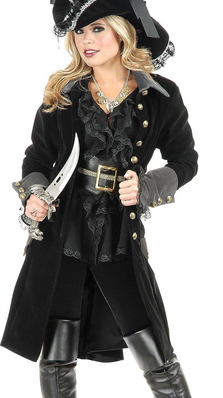 Women's Pirate Vixen Long Black Velvet Costume Coat - DeluxeAdultCostumes.com