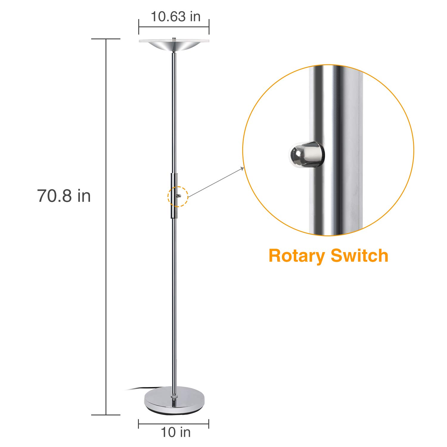 LED Torchiere Floor Lamp, Sunllipe Super Bright 18W Dimmable Uplight Adjustable Floor Lamp, Modern 70.5'' Tall Standing Pole Light, Compatible with Wall Switch for Reading, Office, Living Room, Bedroom by sunllipe (Image #6)