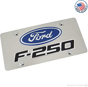 Ford Laser Cut Logo F 250 Name On Polished License Plate Sport Freizeit