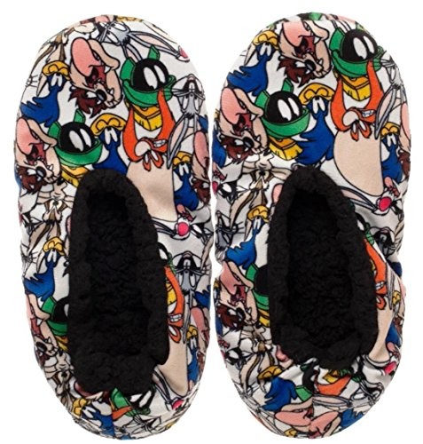 (New Horizons Production Looney Tunes Characters All Over Print Plush Cozy Unisex Adult Slippers (Small/Medium))