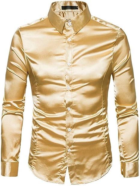 CHENS Camisa/Casual/Unisex/M Camisa de Seda de los Hombres de satén Hombres Lisos Camisa de Esmoquin de Negocios Chemise Homme Casual Slim Fit Brillante Vestido de Boda de Oro Camisas de Vestir: Amazon.es: