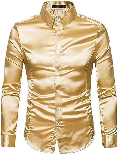 CHENS Camisa/Casual/Unisex/L Camisa de Seda de los Hombres de ...