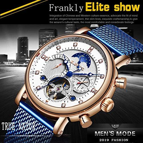 Armbandsur, lyxigt mode turbillon automatisk mekanisk klocka rostfritt stålklocka, rött guld svart