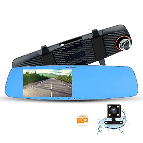 MERRILL Rear View Mirror Dash Cam 5.0 LCD 1080p 170 Wide Angle Dual Cameras with G-sensor, Parking Monitor, Night Vision, 16GB SD Card
