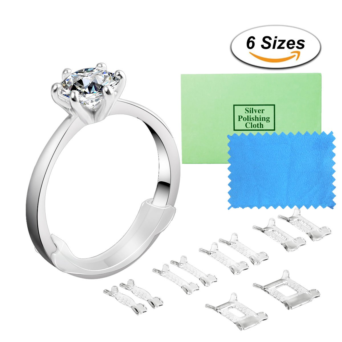 Ring Size Adjuster Invisible Ring Adjuster Sizer Reducer with Jewelry Polishing Cloth for Loose Rings, 10 Pieces, 6 Sizes eMigoo
