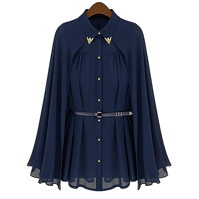 Rosenice Sleeveless Womens Loose Cape Style Chiffon Blouse Shirt - Size L (Navy Blue)