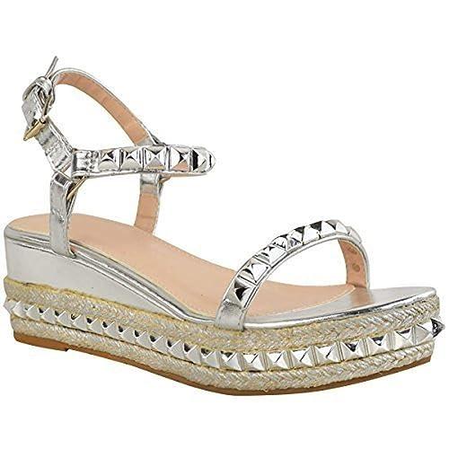 Fashion Thirsty Mujer con tachuelas Cuña Baja Alpargatas Sandalias Plataforma Oro Rosa Zapatos Talla: Amazon.es: Zapatos y complementos