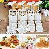 KINGSO Mid-Autumn Festival Mooncake Mold Hand Pressure Mould DIY Cake Decoration Tool (12 Flower Stamps)