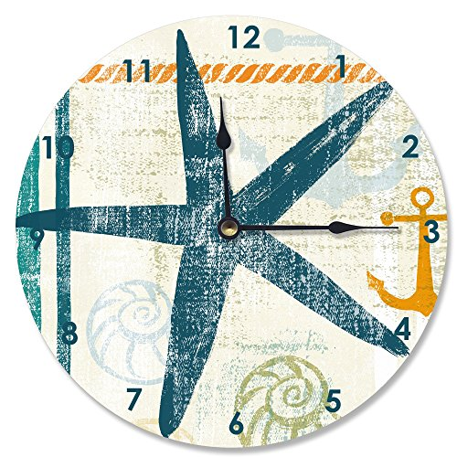 Stupell Home Décor Beach Theme Starfish Vanity Clock, 12 x 0.4 x 12, Proudly Made in USA by Stupell Industries