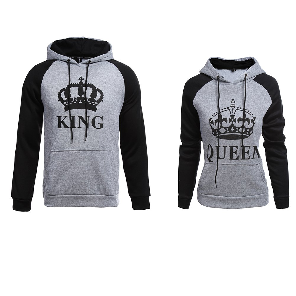 YJQ King Queen Matching Couple Hoodies Pullover Hoodie Sweatshirts