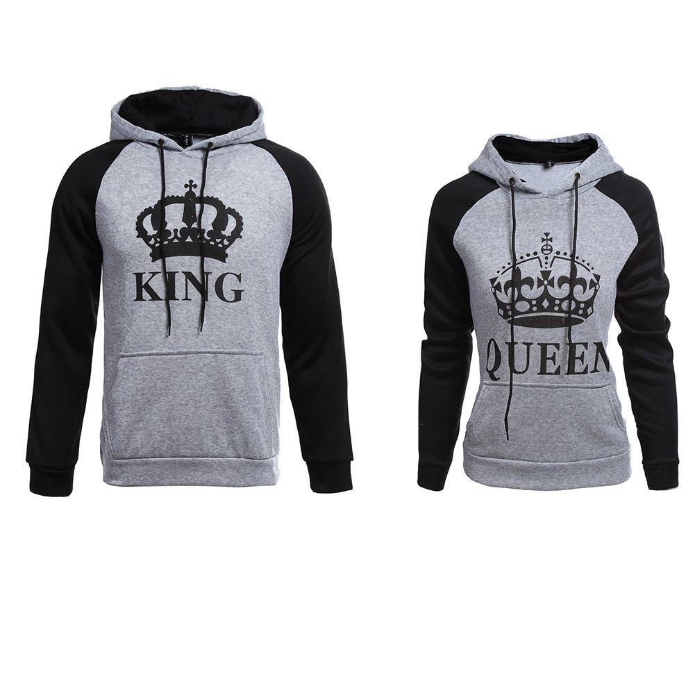 YJQ Men's Women's King Queen Matching Couple Crown Pullover Hoodie Sweatshirts Grey Women M