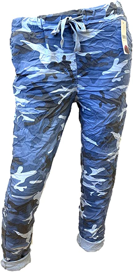 Ladies Italian Lagen Look Camouflage Army Print Stretch Joggers Magic Trousers