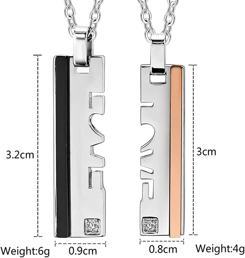 LOPEZ KENT Stainless Steel Mens Womens Pendant Necklace Couples 2 Tone Blade Love Rhinestone Necklace