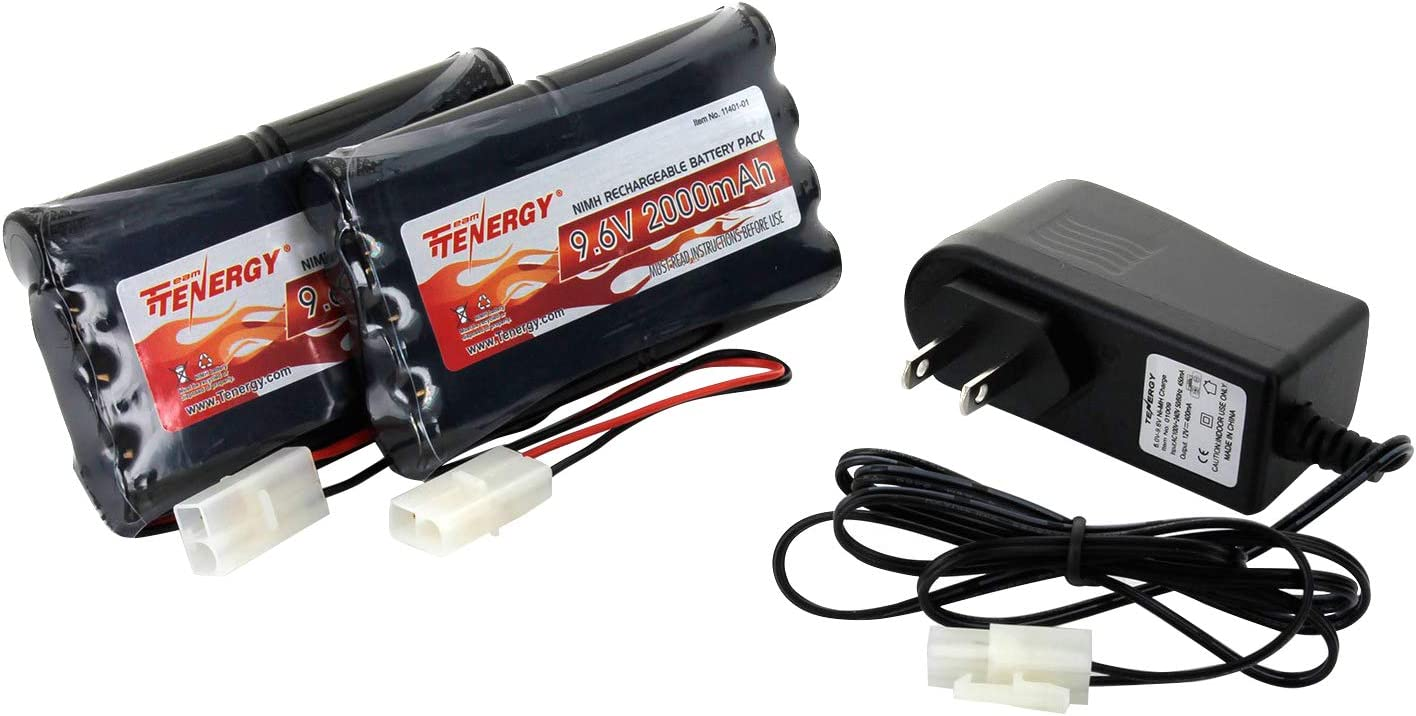 Tenergy 9.6V Flat NiMH Battery Packs for RC Car, High Capacity 8-Cell 2000mAh Rechargeable Battery Pack, Replacement Hobby Battery Pack with Standard Tamiya Connectors (2 Battery Packs + 1 Charger): Toys & Games