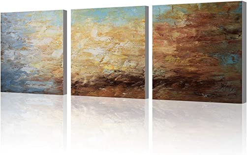 Abstract Wall Art 100 Hand Painted Modern Oil Painting on Canvas Large Framed Blue and Brown 3 Piece Artwork Ready to Hang for Living Room Bedroom Office Home Decoration 20x60inches
