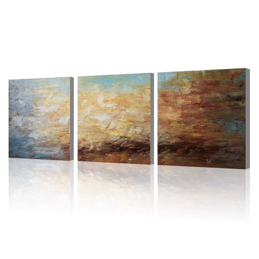 Abstract Wall Art 100% Hand Painted Modern Oil Painting on Canvas Large Framed Blue and Brown 3 Piece Artwork Ready to Hang for Living Room Bedroom Office Home Decoration 20x60